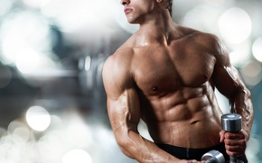 Picture body, guy, torso, athlete, dumbbells
