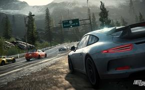 Picture road, mountains, porsche 911, mclaren p1, c7 corvette, bmw m3 gts, need for speed rivals