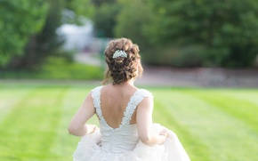 Picture field, joy, running, the bride, Anticipation