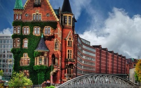 Picture greens, the sky, the city, house, Germany, Hamburg