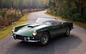 Picture SWB, background, road, Cabriolet, Ferrari, 1959, green, Superamerica, 400, the front, Ferrari, forest, Superamerica