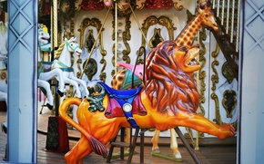 Picture childhood, horse, Leo, carousel