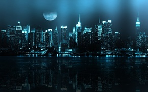 Picture night, reflection, river, the moon, new York