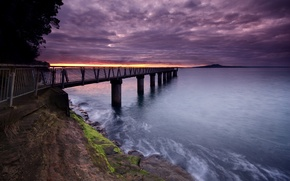 Wallpaper pier, water, clouds, sunset