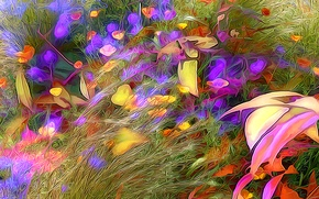 Picture field, grass, flowers, abstraction, rendering, meadow