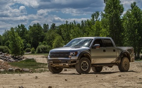 Picture road, forest, trees, stones, tuning, American, series Super Duty, lighting with dual headlights, full-size heavy …