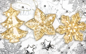 Picture New Year, toys, gold, snowflakes, New Year, Christmas, Christmas, star, silver, the scenery, herringbone, holidays, …