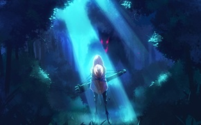 Wallpaper forest, girl, light, trees, night, nature, wolf, anime, art, hood, ladic