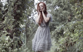 Picture greens, girl, dress, redhead