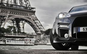 Wallpaper tower, porsche, Cayenne, ship, Eiffel, river, the city