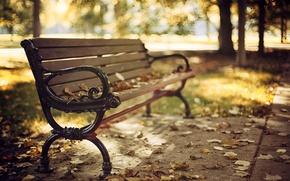 Picture autumn, leaves, trees, bench, nature, Park, shop, dry, shop, bench, bokeh