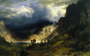 Picture picture, painting, painting, Albert Bierstadt, A Storm in the Rocky Mountains, Mt.Rosalie