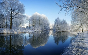 Wallpaper winter, frost, snow, trees, river