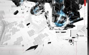 Wallpaper minimal, trance, AMPLIFIER404, cinema 4d, construction, planet