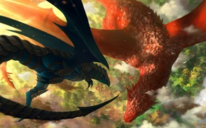 Picture clouds, flight, red, black, height, dragons, art, battle