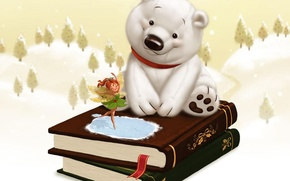 Wallpaper winter, snow, childhood, tale, fairy, gifts, books. white bear