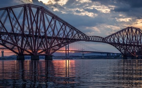 Picture the sky, clouds, sunset, clouds, bridge, river, the evening, Scotland, UK, river, Scotland, Great Britain, …