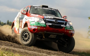 Wallpaper Turn, The front, Jeep, Skid, Rally, Dakar, Opel, Dakar, SUV, Rally, In Motion, Machine, Logo, ...