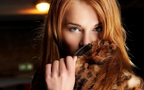 Picture look, girl, portrait, redhead, The girl in a fur coat