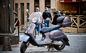 Picture street, moped, scooter, Vespa. pavers