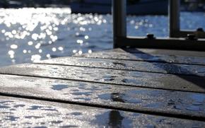 Picture water, the sun, glare, reflection, pier, bokeh