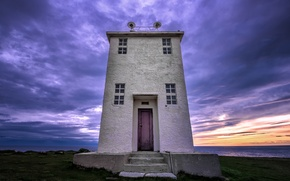 Picture sea, the sky, sunset, clouds, lighthouse, the evening, Iceland, sky, sea, clouds, purple, Iceland, lighthouse, …