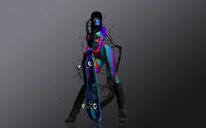 Picture girl, paint, boots, blots, cap, color, skateboard