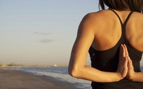 Wallpaper pose, morning, surf, shore, sand, sea, girl, summer, yoga