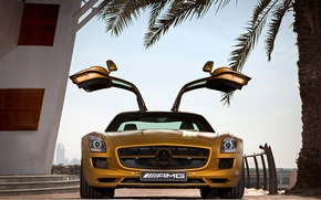 Wallpaper SLS AMG Desert Gold Edition, Door, Gold, Steps, Mercedes Benz, Palma