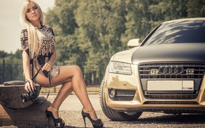 Picture auto, look, girl, Audi, Girls, camera, dress
