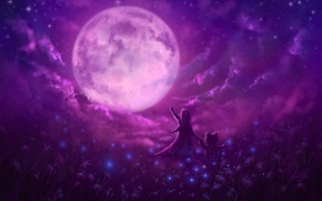 Picture stars, flowers, magic, the moon, glade, Night, bear, girl, friends, little, delight