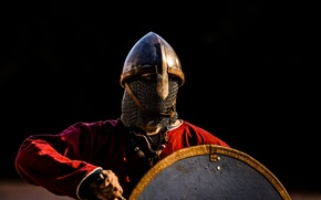 Picture shield, warrior, sword, Viking, helmet