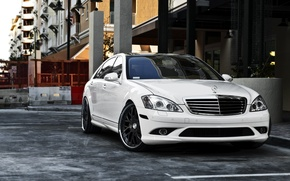 Wallpaper auto, the city, Wallpaper, 360 forged, white Mercedes, black rims, mersedes s-class