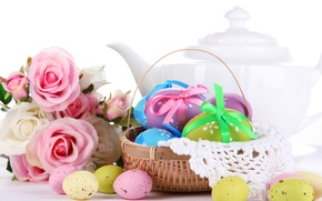 Picture flowers, holiday, roses, eggs, spring, kettle, Easter, basket, Easter, quail