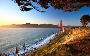Picture road, landscape, bridge, city, the city, photo, view, Golden gate, Landscape, bridges, Landscapes, view, san ...