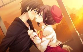 Picture girl, sunset, kiss, art, pair, guy, game cg, kanojo to ore to koibito to, marui