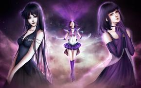Picture the sky, girl, stars, form, bow, bishoujo senshi sailor moon, sailor saturn, tomoe hotaru