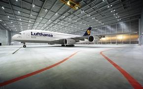 Wallpaper Lufthansa, Passenger, Airbus, A380, Lighting, Airport, Hangar, Liner, The plane