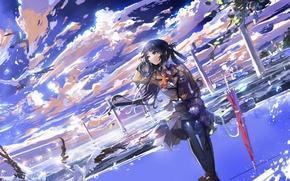 Picture the sky, girl, clouds, birds, umbrella, anime, art, form, schoolgirl, stu dts, like no asukara, …