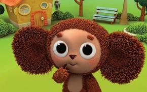 Picture cartoon, Greens, shop, house, character, Cheburashka.