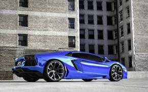 Picture blue, the building, lamborghini, blue, aventador, lp700-4, Lamborghini, aventador