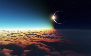 Picture HORIZON, The SKY, The SUN, CLOUDS, The MOON, LIGHT, DAL, DARKNESS, ECLIPSE