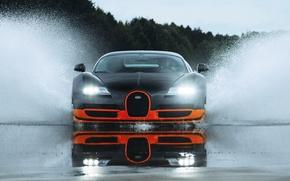 Picture wet, water, sport, splash, veyron, sport, bugatti, wet, Bugatti, super, water, super, orange, splash, Veyron