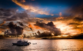 Picture sea, clouds, sunset, the evening, yacht, clouds., the coast