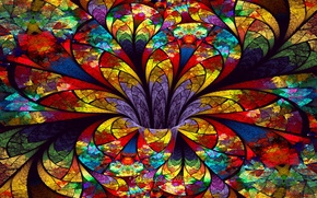 Picture flower, glass, petals, stained glass, the volume