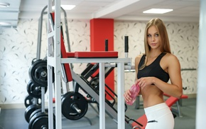 Picture smile, water, blonde, workout, gym