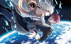 Picture the sky, girl, stars, clouds, earth, planet, height, anime, drop, art, guy, karasumaru emu
