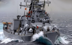 """Picture sea, wave, ship, Destroyer, The Indian Navy, """"Ranvir"""", the project 61мэ"""