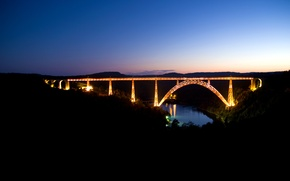 Picture road, the sky, water, landscape, night, bridge, lights, river, road, water, night, view, rivers, nature …