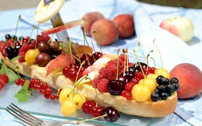 Picture summer, berries, raspberry, Apple, peaches, currants, gooseberry, cherry, roll, abundance